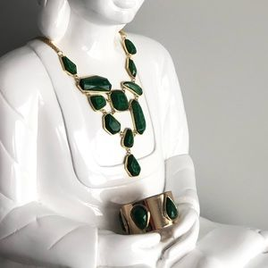 Green stone & Gold statement necklace by Marciano